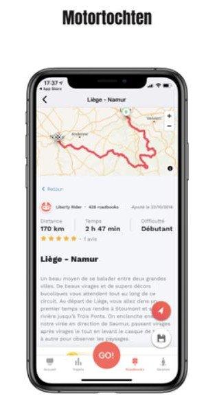 Liberty Rider App Gps met waarschuwingen