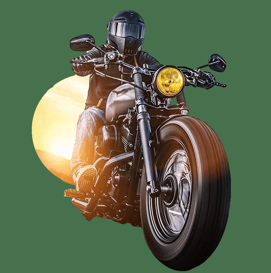 motorrijder in de zon